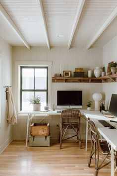 Home Office Space, Home Office Design, House Design, Shared Office, Decoration, Interior Inspiration, Living Spaces, Work Spaces, Living Room