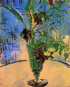 Still Life Glass with Wild Flowers, 1890 (Auvers-sur-oise, France) -Vincent Van Gogh Art Van, Van Gogh Art, Vincent Van Gogh, Flores Van Gogh, Van Gogh Still Life, Van Gogh Flowers, Van Gogh Paintings, Flower Paintings, Dutch Artists
