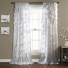 Lush Decor Riley Window Curtain Panel - Overstock Shopping - Great Deals on Lush Decor Curtains Girls Bedroom Curtains, Shabby Chic Bedrooms, Bedroom Decor, Shabby Chic Curtains, Rustic Curtains, Modern Curtains, White Curtains, Drapes Curtains, Silver Curtains