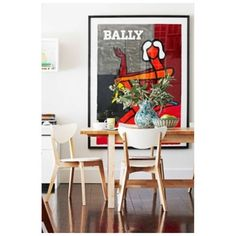 BALLY print. Rare abstract reproduction poster print. Vintage retro design