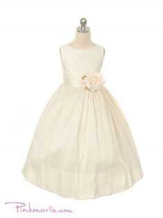 Ivory Poly Silk Diamond Cross Pattern Girl Dress