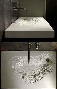Bathroom Decor sink erosion waschbecken im bad schwarz design sple Concrete Sink, Concrete Furniture, Cool Furniture, Furniture Design, Furniture Ideas, Outdoor Furniture, Modern Bathroom Sink, Modern Sink, Bathroom Interior