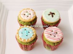 matcha cupcakes with button cookies