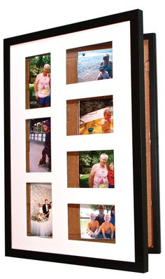 The Pinster Pix lets you use the frame as a shadowbox corkboard or display 7 4x6 photos.  What's cool about it is that it conveniently store up to 163 photos in the spring loaded compartments.   The cat's meow of convenience, quality & flexibility!
