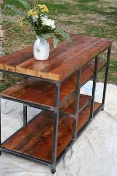 the clyde, tv console or side table... custom ordered with reclaimed barn wood www.metalfred.com