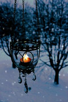 ~Winter scene with hanging crystal candle lit lanturn