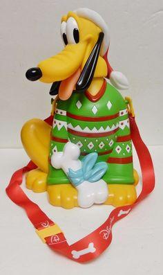 Disney Parks Christmas Season Pluto Popcorn Holder Dog Holiday New w Tags Empty #Disney