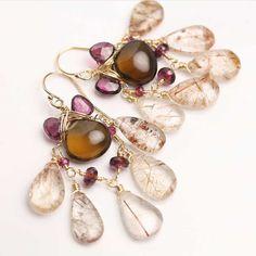 Whiskey Quartz and Copper Rutile Chandelier Earrings