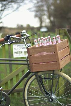 wood crate bike basket
