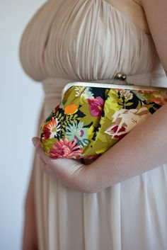 Handmade silk purse with flower print | Percy Handmade