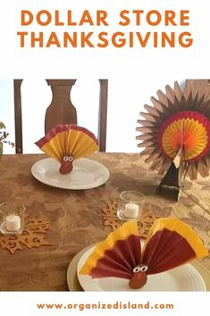 This pretty Thanksgiving table is decorated with dollar store Thanksgiving decorations and is so simple to recreate. You can find everything you need to set a beautiful table! Thanksgiving Crafts For Kids, Thanksgiving Table Settings, Thanksgiving Decorations, Holiday Crafts, Home Crafts, Thanksgiving Recipes, Kids Crafts, Holiday Ideas, Dollar Store Crafts