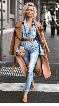 Denim and camel - perfect combination this winter | Outfit inspiration ♥️ | Pinned by Zefinka.com