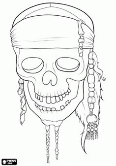@complicolor The skull of the film Pirates of the Caribbean. Printable pages and Coloring books for grown-ups at: http://www.complicatedcoloring.com