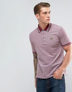 Lyle & Scott Tipped Polo Shirt Burgundy - Red