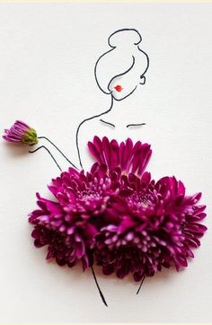 Grace Ciao is a fashion designer from Singapore, who uses fresh flowers in her… Moda Floral, Arte Floral, Grace Ciao, Floral Fashion, Fashion Art, Dress Fashion, Illustration Mode, Flower Dresses, Daisy Dress