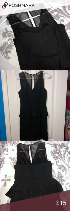 9becb3e42916 Black Dress Black peplum dress in a nice material. The sleeves and part of  the