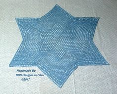 Blue Star Lace Centerpiece  Large 6 Pointed Star #Lace #Doily  @rssdesignsfiber #bmecountdown