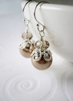 Bronze Swarovski Pearl and Greige Crystal by BeadedDetails on Etsy, $28.00