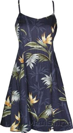 de5ad19f21 Mini Sundress - Women s Bamboo Paradise Spaghetti Strap A Line Hawaiian  Aloha Princess Seam Herringbone Ryaon Sun Dress (Apparel)