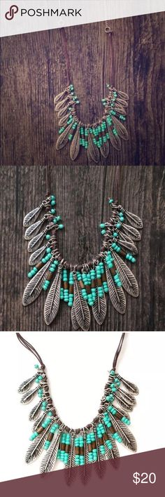 Leather  boho turquoise leaf necklace  Gorgeous new beaded silver alloy leaf necklace. ✨Features turquoise beads, silver leafs, brown faux leather and bronze chain. Beautiful accessory for your bohemian look! Check out my other listings, bundle and save!  Jewelry Necklaces