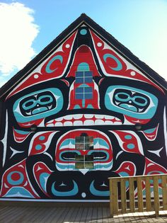 Native mural on a building in Carcross, Yukon Territory, Canada
