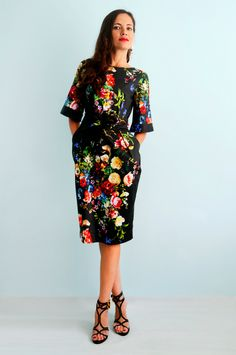 Exclusive! Black  dress with flower print  Flower dress Casual dress Summer dress by Florinio on Etsy