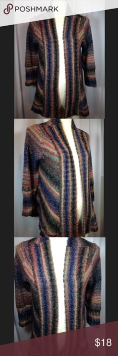 BKE multicolored cardigan Excellent condition!! Sweater is 24 inches in length. 55% ramie, 38% acrylic and 7% polyester. Smoke free and pet free home. BKE Sweaters Cardigans