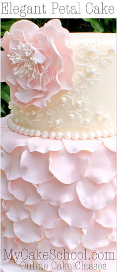 Elegant fondant petal cake with flower & scrollwork! member cake decorating video tutorial by Cake Decorating Classes, Cake Decorating Techniques, Cake Decorating Tutorials, Decorating Cakes, Cake Decorating With Fondant, Fondant Cake Decorations, Buttercream Decorating, Decorating Ideas, Chocolate Decorations