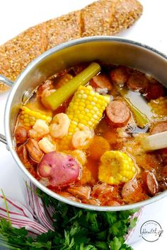 Lazy Low Country Boil (peeled, deveined shrimp) - A Pinch of Healthy Cajun Recipes, Seafood Recipes, Crockpot Recipes, Dinner Recipes, Healthy Recipes, Cajun Food, Easy Recipes, Healthy Food, Southern Salad