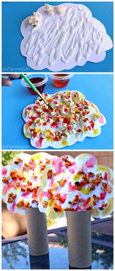 Beautiful Popcorn Fall Tree Craft - Crafty Morning - - Learn how to make these pretty popcorn fall tree crafts! All you need is popcorn, food coloring, toilet paper rolls, and glue! Perfect fall art project for kids. Fall Arts And Crafts, Crafts For Kids To Make, Spring Crafts, Fall Preschool, Preschool Crafts, Toddler Art, Toddler Crafts, Popcorn Tree, Fall Tree Painting