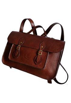 9235da9dc Mochila Line Store Leather Satchel N2 Média Couro Marrom Avermelhado