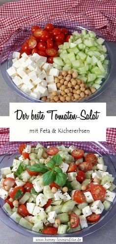 Tomato feta salad with chickpeas - a real protein bomb-Tomaten-Feta-Salat mit Kichererbsen – eine wahre Proteinbombe! Today there is a tomato feta salad with chickpeas. It& a flash recipe again, because you only need minutes to prepare it! Healthy Dinner Recipes, Healthy Snacks, Vegetarian Recipes, Crock Pot Recipes, Chicken Recipes, Feta Salat, Couscous Salat, Salad Recipes For Dinner, No Calorie Foods