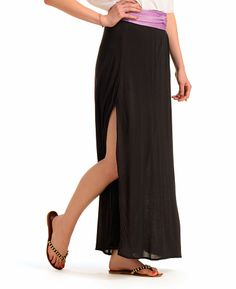 3 Olives Silk Jersey Maxi Skirt with Slits