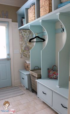 Atta Girl Says: Watery Blue Cottage Style Laundry Room or mudroom Laundry Room Colors, Tiny Laundry Rooms, Mudroom Laundry Room, Laundry Storage, Mud Rooms, Mudroom Cubbies, Laundry Bin, Laundry Basket, Favorite Paint Colors