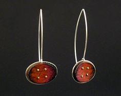 """""""Sunset Oval"""" by Deb Karash - Silver & Copper Earrings 110$"""