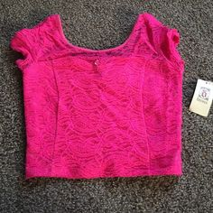 Hot pink lace crop top  Hot pink lace decree crop top. Must have for this summer. NWT Decree Tops Crop Tops