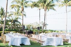 Wedding reception under the palm trees at the South Seas Resort on Captiva Island #DestinationWedding