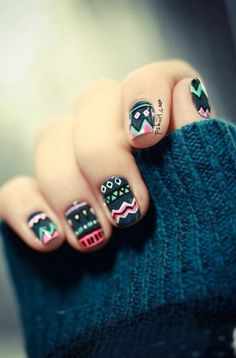 nail art design fall mint cute tutorial diy winter