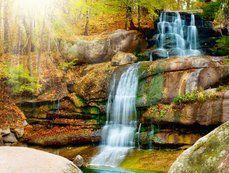 Scenery, waterfall, waterfall, cascade, park, trees, sun, nature