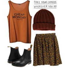 A fashion look from February 2013 featuring black skirt, dr martens boots  and cheap monday