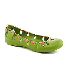 e104b20823b6f0 Crocs Springi Ballet Flats- I have this in pink with green ribbon. LOVE
