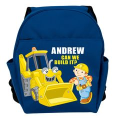 Bob the Builder Scoop Blue Toddler Personalized Backpack - All Backpacks - School Supplies   Tv's Toy Box