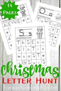 Teach or reinforce letter recognition with these Christmas Letter Hunt activity pages for preschool and kindergarten. | homeschoolpreschool.net