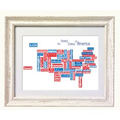Map of United States  Typography Print in by silvermoonprints, $10.00