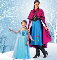 M7000 Dresses have bias neck facing, yokes, fitted, lined bodice with princess seams, back zipper and appliques, optional for overlay. #costumepattern #princesscostume Winter Princess, Frozen Princess, Princess Disney, Disney Costumes, Girl Costumes, Couple Costumes, Adult Costumes, Halloween Costumes, Halloween Sewing