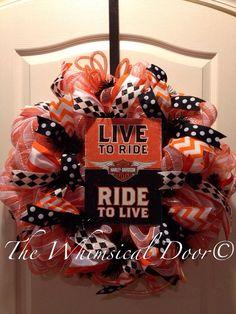 Harley Davidson Mesh Wreath polkadot chevron harlequin orange black white Father's Day Motorcycle  on Etsy, $60.00