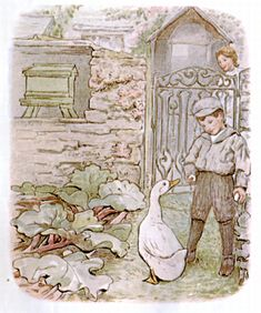 """'The Tale of Jemima Puddle-Duck', 1908 -- Beatrix Potter. """"She tried to hide her eggs, but they were always found and carried off."""" *** Shows Potter's garden, green wrought iron gate, and HILL TOP HOUSE door."""