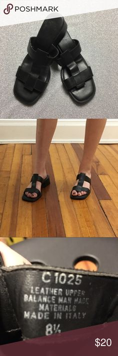 Black Leather Sandals Black leather sandals. Classic and simple! Size 8.5 modeled on a size 7, unknown brand. Small heel. Vintage Shoes Sandals