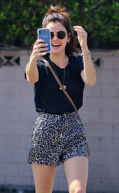 Lucy Hale from The Big Picture: Today's Hot Photos Selfie time! The star stops for coffee and a photo op while around town in Studio City. Mode Outfits, Chic Outfits, Girl Outfits, Fashion Outfits, Celebrity Casual Outfits, Celebrity Style, Older Women Fashion, Girl Fashion, Looks Style