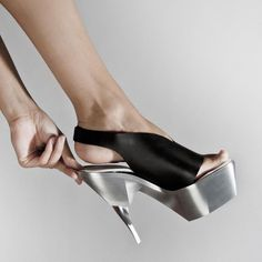 Shoes By Bryan - You can customize each of the three parts to create your own style of split heels. Me As A Girlfriend, Me Too Shoes, Heeled Mules, Kitten Heels, High Heels, Boots, Futuristic, Weird, Concept
